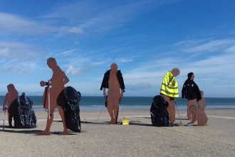 On the beach sculpture at litter pick