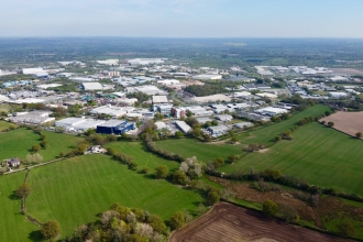 Wrexham Industrial Estate drone shot
